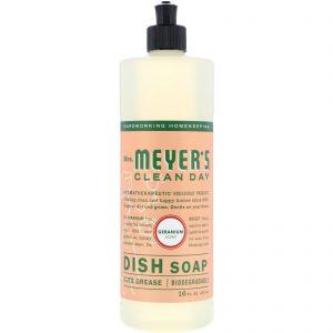 Mrs. Meyers Clean Day, 洗碗液, 天竺葵味, 473 ml